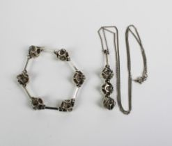 Kilkenny, by repute, modernist white metal pendant and matching bracelet, circa early 1970's (2)