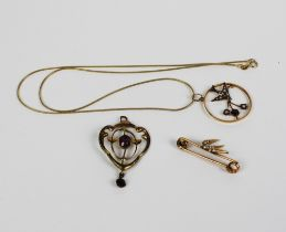 Early 20th century 9ct gold seed pearl and amethyst pendant on a 9ct gold chain together with a
