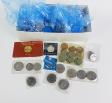 A large collection of coins to include approx thirty five Queen Elizabeth II jubilee, four Winston