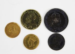Two USA one dollar gold coins, Edward VII Australia one shilling coin, Queen Victoria three pence