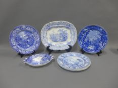 19th century Staffordshire blue and white transfer printed pottery to include Enoch Woods Castle