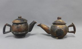 Two South African wooden teapots, largest 16cm high (2)