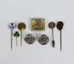 Mixed lot to include two silver celtic knot brooches, five various tiepins and miniature pack of