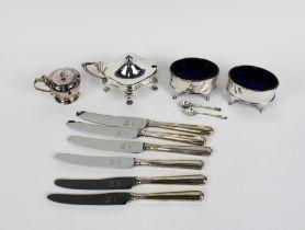 Pair of silver oval salts, Birmingham 1960, Viners silver mustard, Birmingham 1945, silver mustard