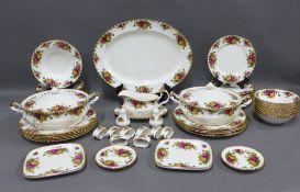 Royal Albert Old Country Roses dinner service comprising ashet, tureen,s dinner plates, side plates,