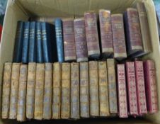 A box of approximately 65 books, including Plutarch, Schiller's Werke, The Letters of Robert