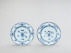 A PAIR OF LARGE BLUE AND WHITE PORCELAIN PLATES