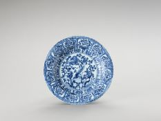 A LARGE 'FLORAL' BLUE AND WHITE PORCELAIN PLATE