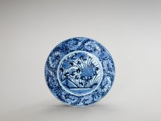 A BLUE AND WHITE 'FLORAL' PORCELAIN CHARGER