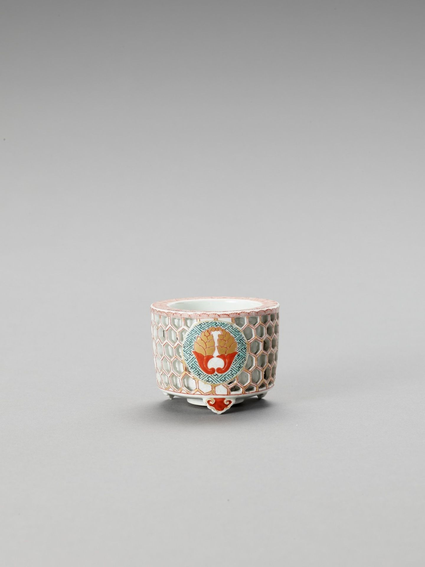 A RETICULATED IMARI PORCELAIN CENSER