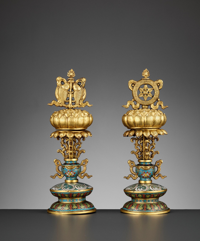 TWO BUDDHIST EMBLEMS, CLOISONNE ENAMEL AND GILT-BRONZE, QIANLONG PERIOD