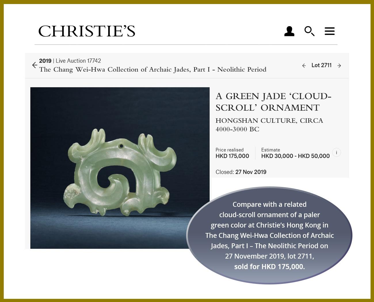 A DARK GREEN JADE OPENWORK 'CLOUD-SCROLL' PENDANT, GOUYUN, HONGSHAN CULTURE - Image 5 of 9