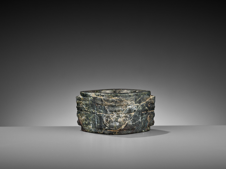 A MOTTLED GREEN JADE CONG, LIANGZHU CULTURE - Image 4 of 10