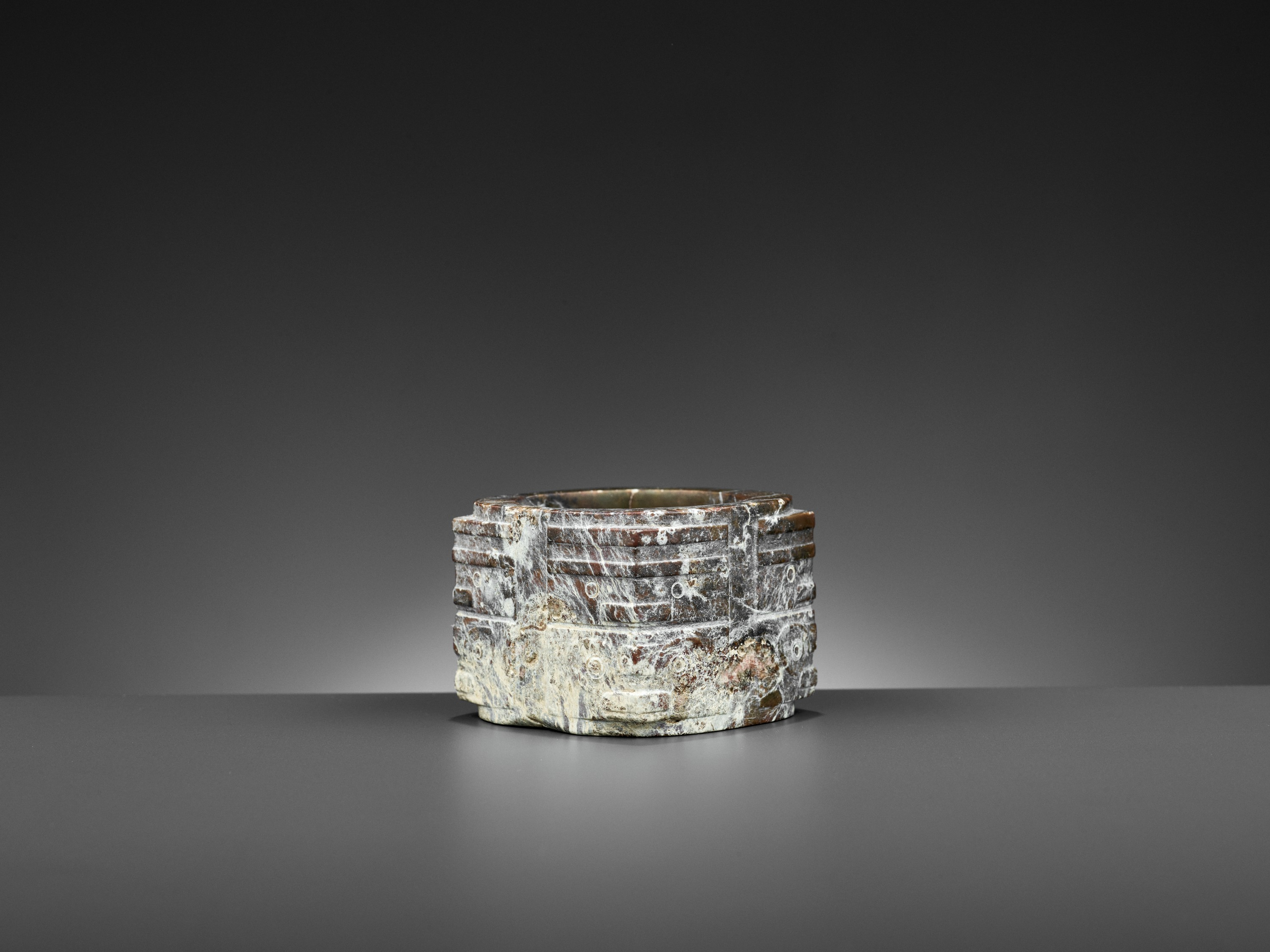 A BROWN JADE CONG, LIANGZHU CULTURE - Image 6 of 10