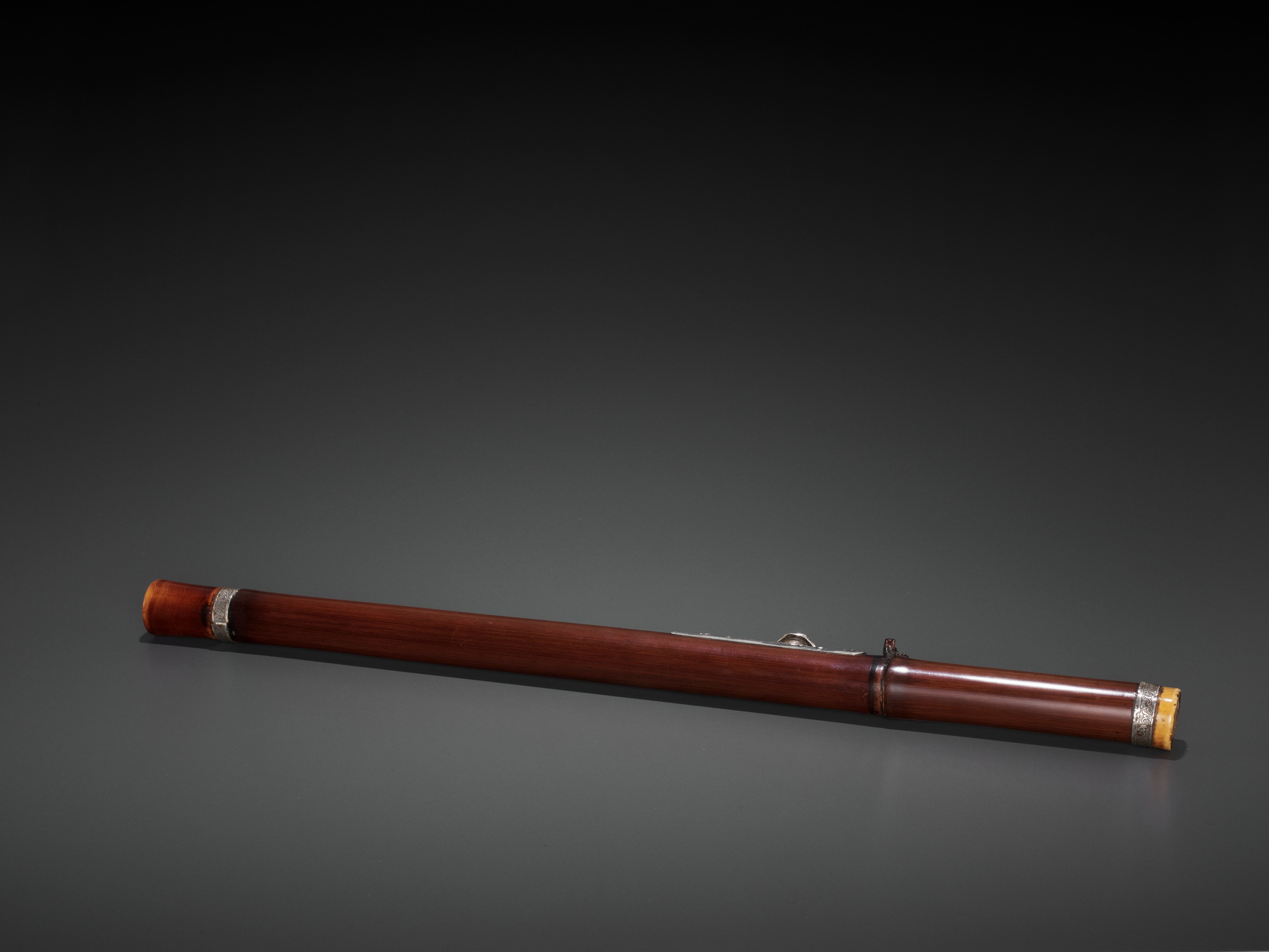A BAMBOO OPIUM PIPE WITH IVORY, SILVER AND YIXING CERAMIC FITTINGS, LATE QING TO REPUBLIC - Image 5 of 9