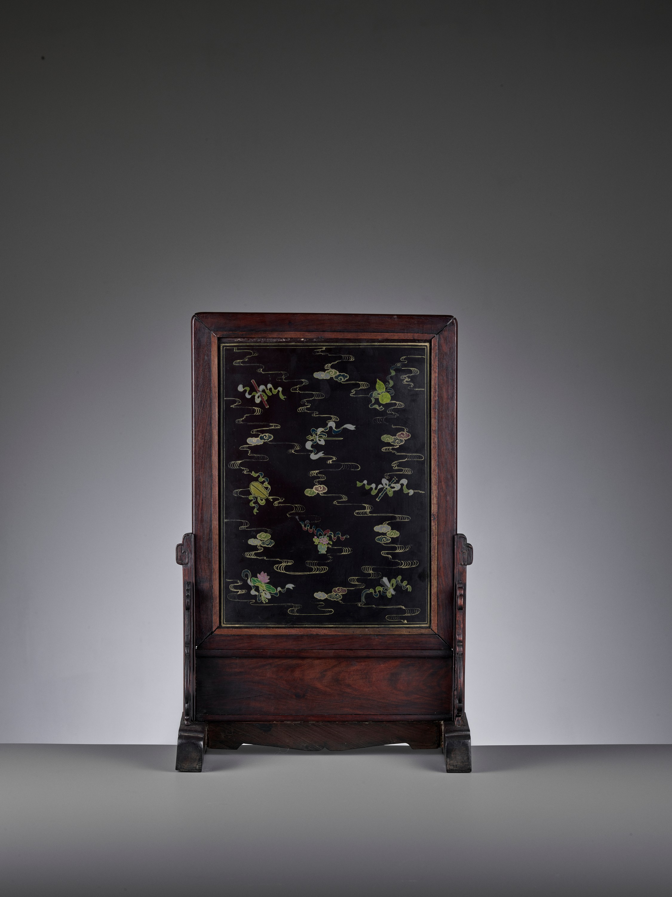 A HARDSTONE AND JADE-INLAID ZITAN TABLE SCREEN, QING - Image 4 of 10
