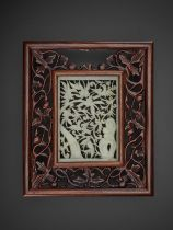 AN OPENWORK JADE 'BIRDS AND FLOWERS' PLAQUE, MING DYNASTY