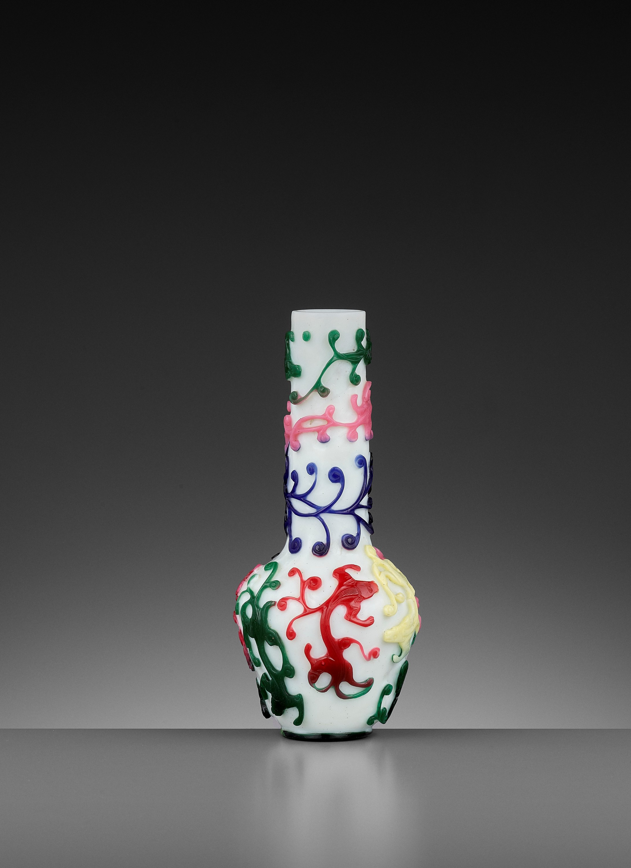 A FIVE-COLOR OVERLAY GLASS 'CHILONG' BOTTLE VASE, QIANLONG MARK AND PERIOD