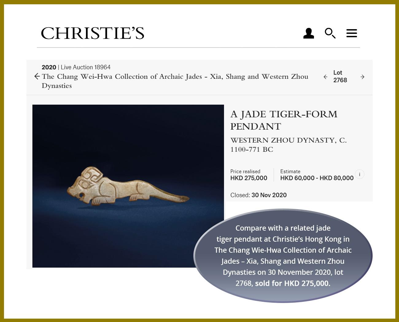 A CELADON JADE 'CROUCHING TIGER' PENDANT, WESTERN ZHOU DYNASTY - Image 6 of 6