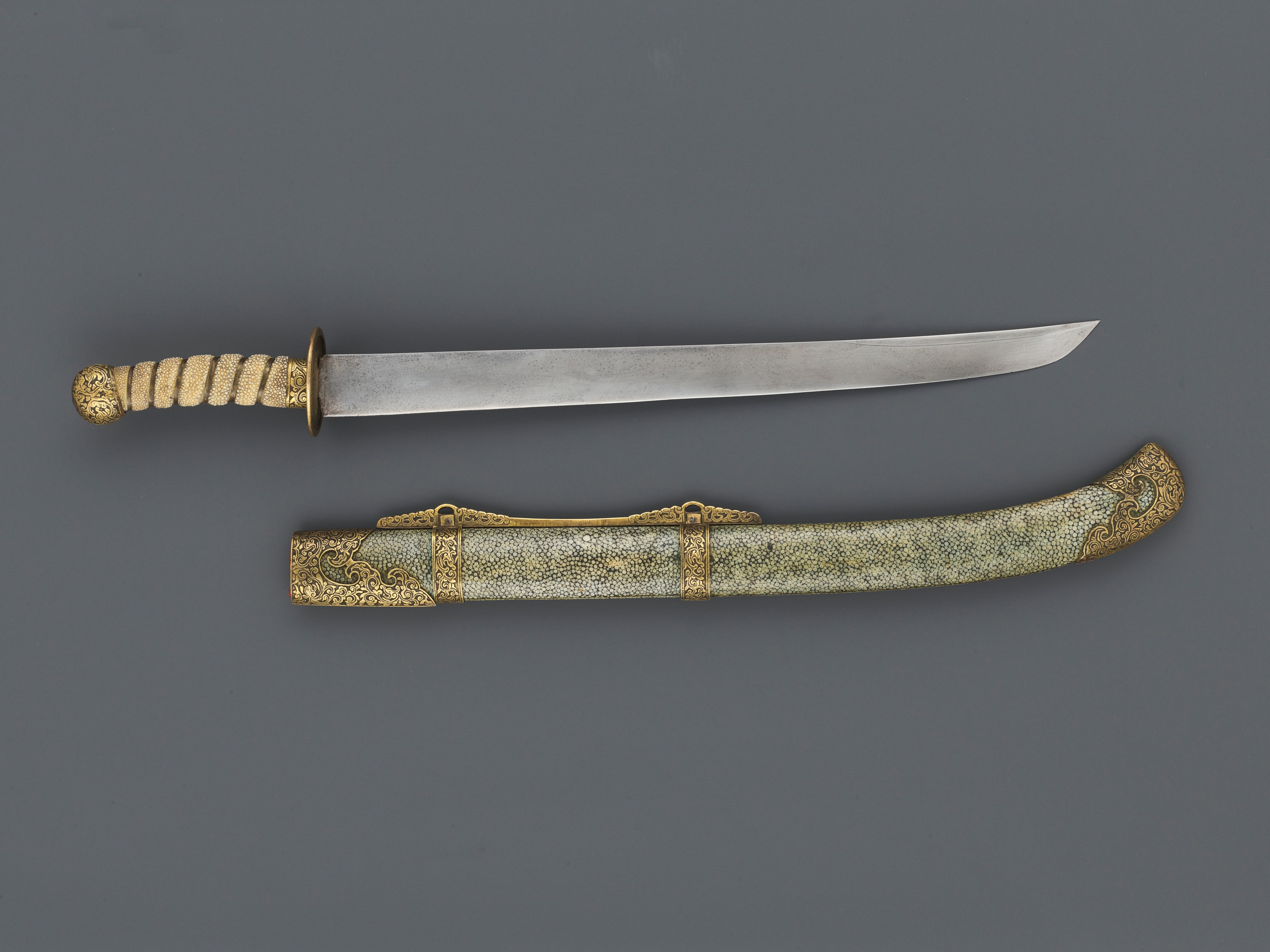 A CEREMONIAL SWORD AND SCABBARD, QING DYNASTY