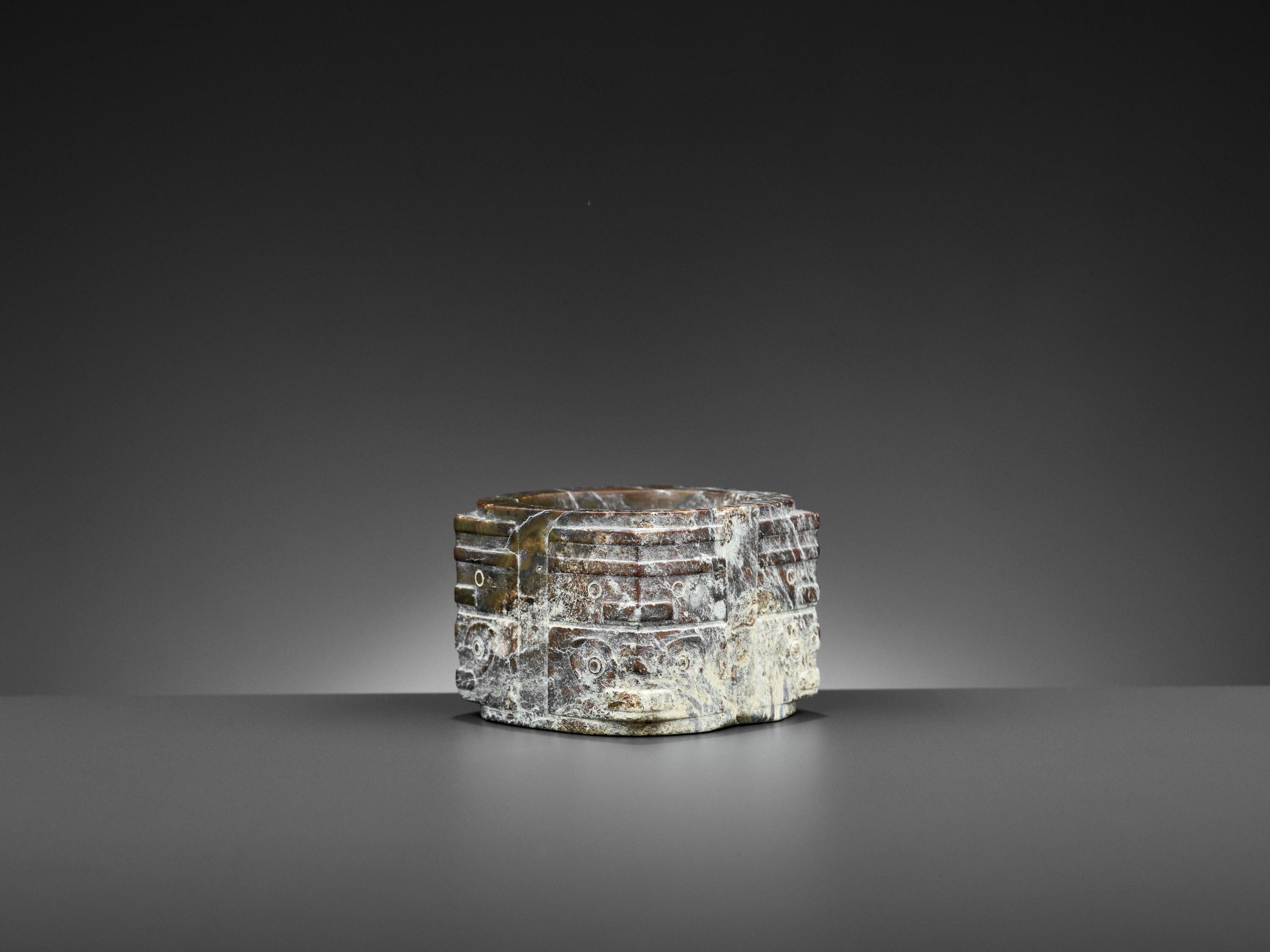 A BROWN JADE CONG, LIANGZHU CULTURE - Image 4 of 10