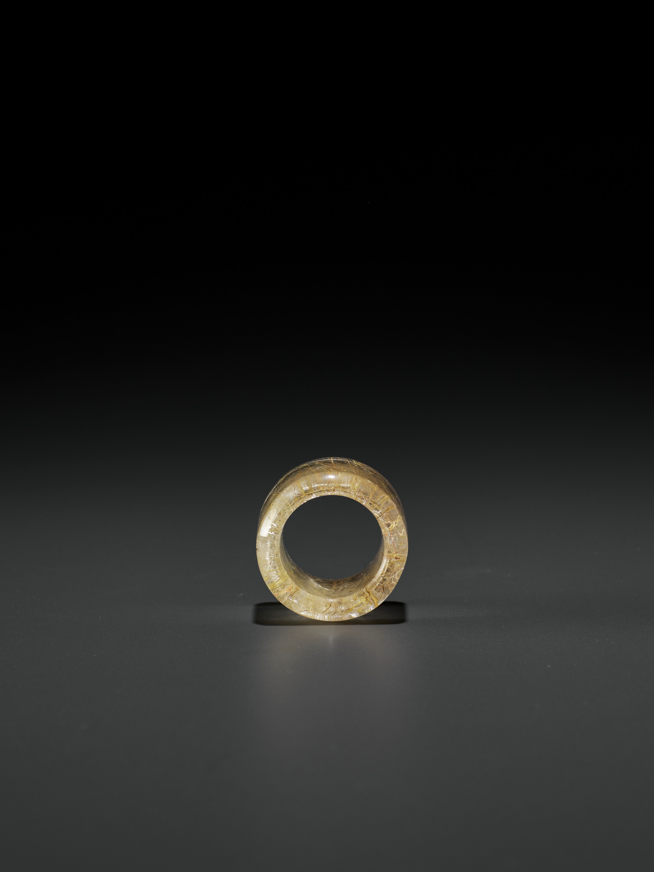 A 'HAIR' CRYSTAL ARCHER'S RING, QING DYNASTY - Image 7 of 9