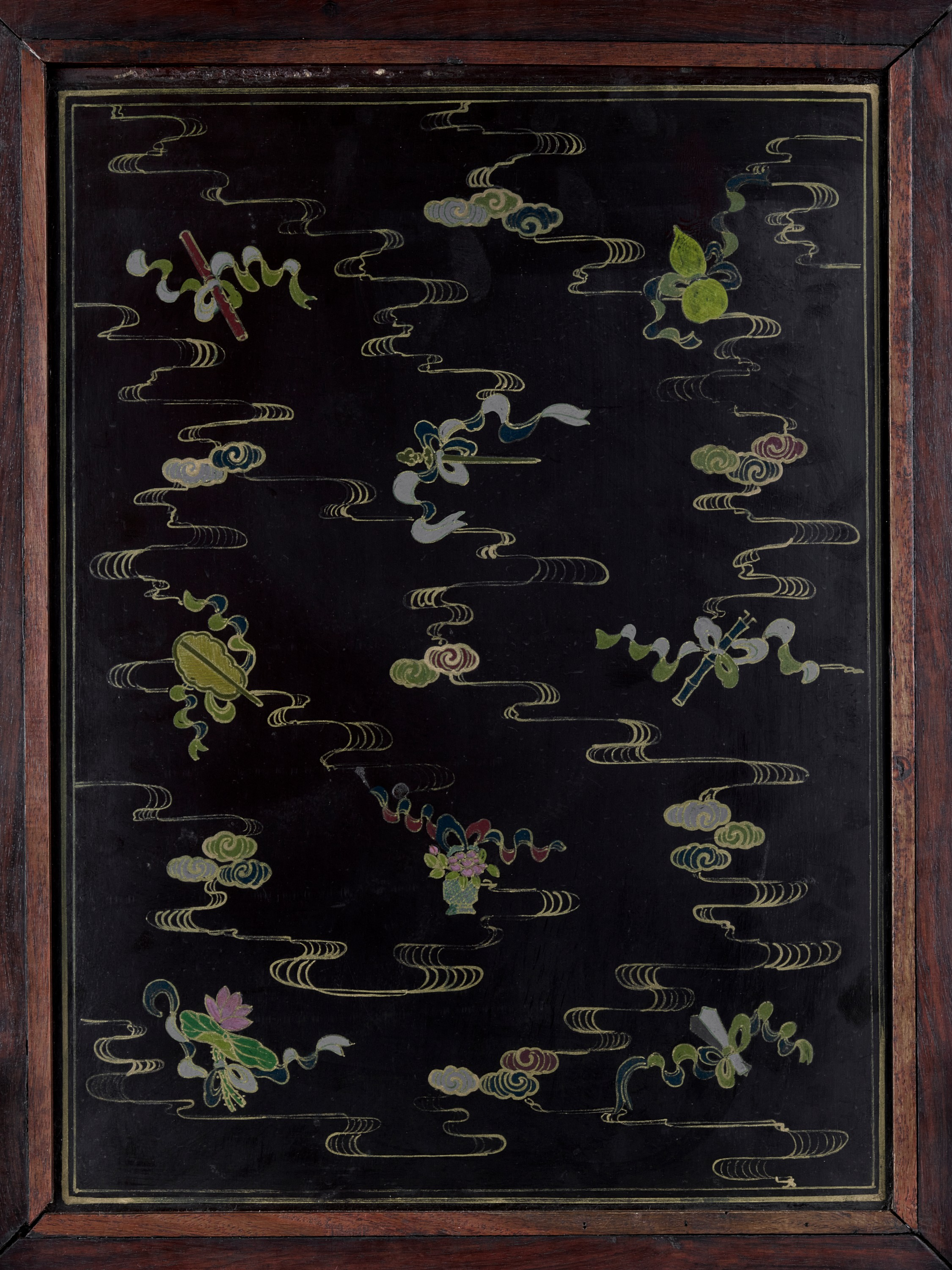 A HARDSTONE AND JADE-INLAID ZITAN TABLE SCREEN, QING - Image 6 of 10
