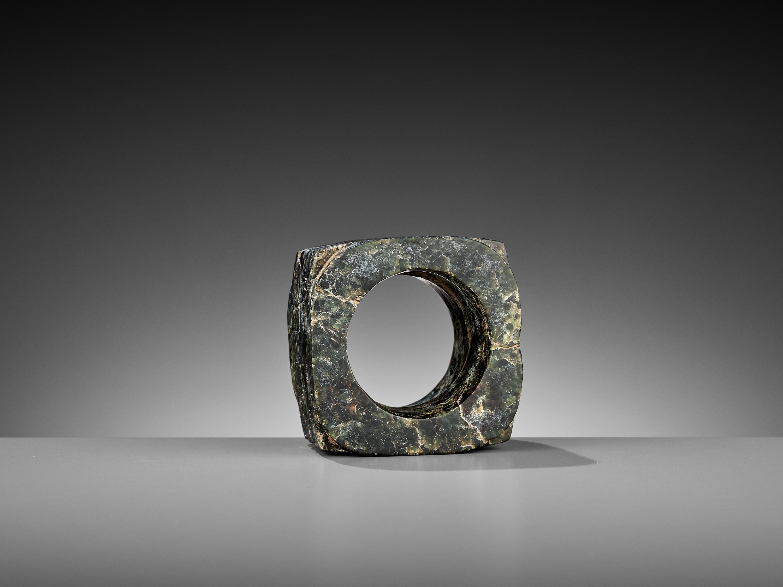 A MOTTLED GREEN JADE CONG, LIANGZHU CULTURE - Image 5 of 10