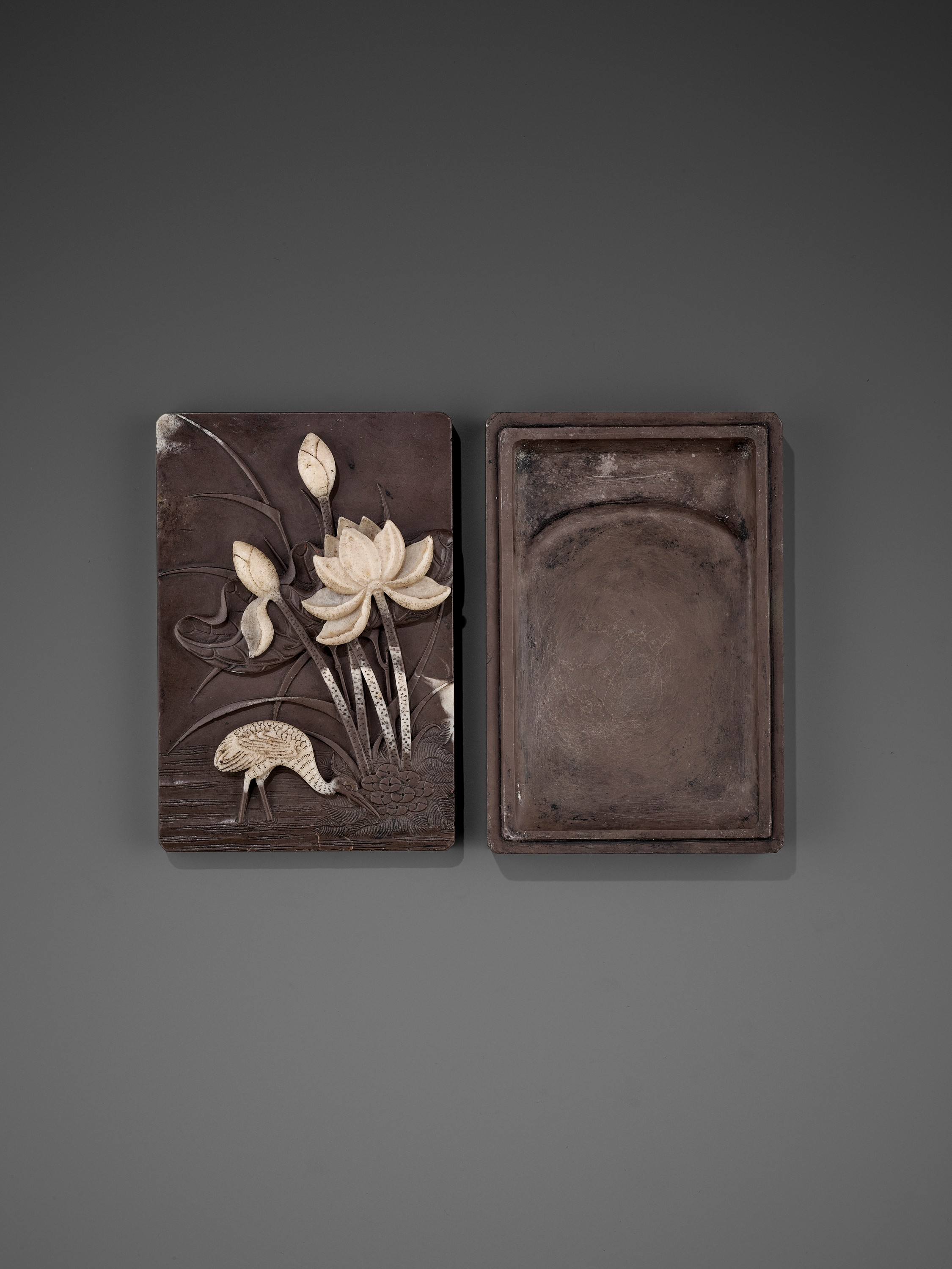 A DUAN 'CRANE AND LOTUS' INKSTONE AND COVER, QING - Image 6 of 12