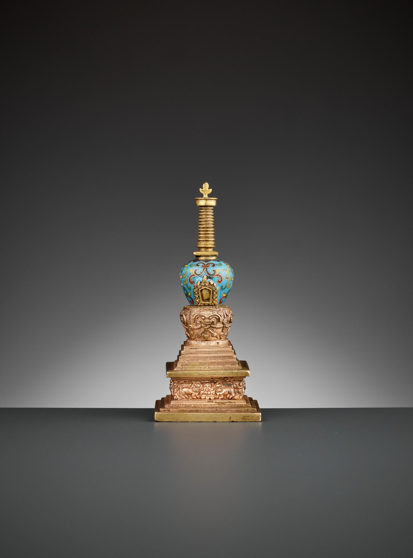 A GILT-BRONZE AND CLOISONNE ENAMEL STUPA, QIANLONG - Image 6 of 11