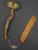 A CHAMPLEVE ENAMEL 'BUDDHA'S HAND' RUYI SCEPTER, QING DYNASTY