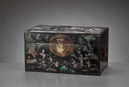 A RARE AND IMPORTANT MOTHER-OF-PEARL AND GOLD-FOIL INLAID 'ZHUAZHOU' BLACK LACQUER BOX AND COVER, LA