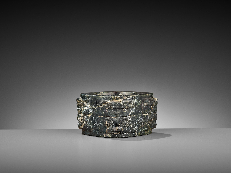 A MOTTLED GREEN JADE CONG, LIANGZHU CULTURE - Image 8 of 10