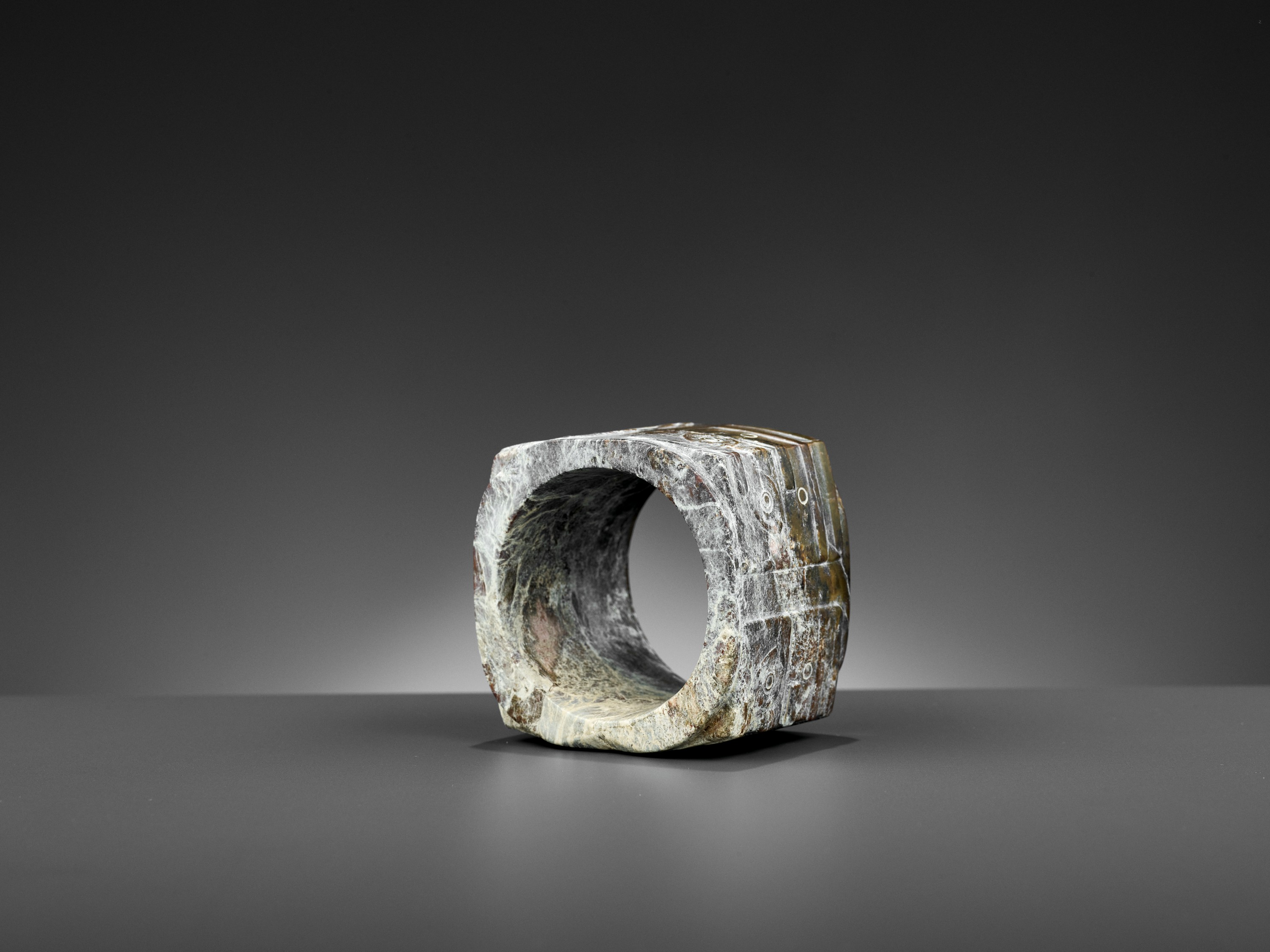 A BROWN JADE CONG, LIANGZHU CULTURE - Image 9 of 10