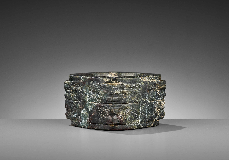 A MOTTLED GREEN JADE CONG, LIANGZHU CULTURE