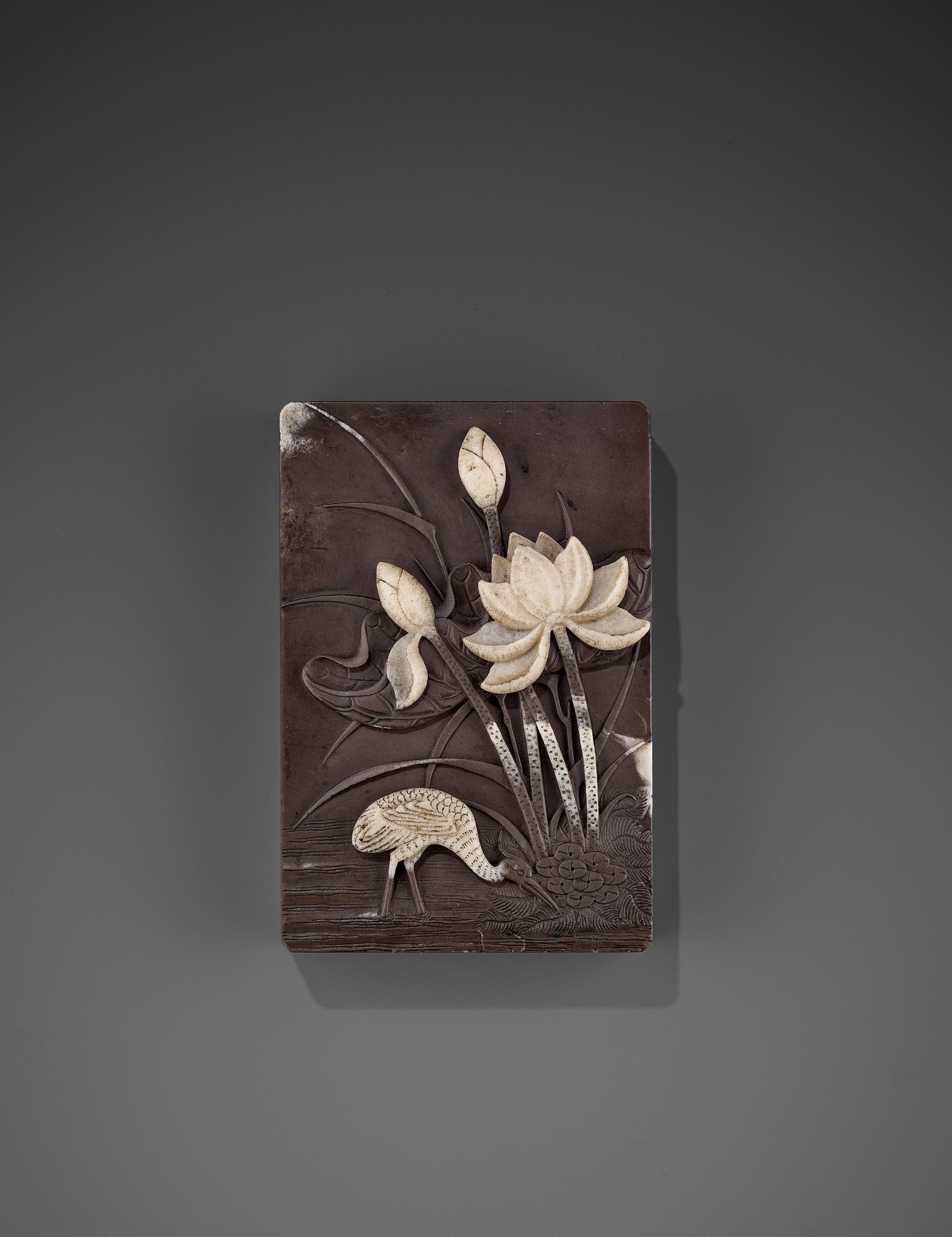 A DUAN 'CRANE AND LOTUS' INKSTONE AND COVER, QING - Image 3 of 12