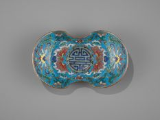 A CLOISONNE AND GILT-BRONZE 'DOUBLE HAPPINESS' CUP STAND, QIANLONG