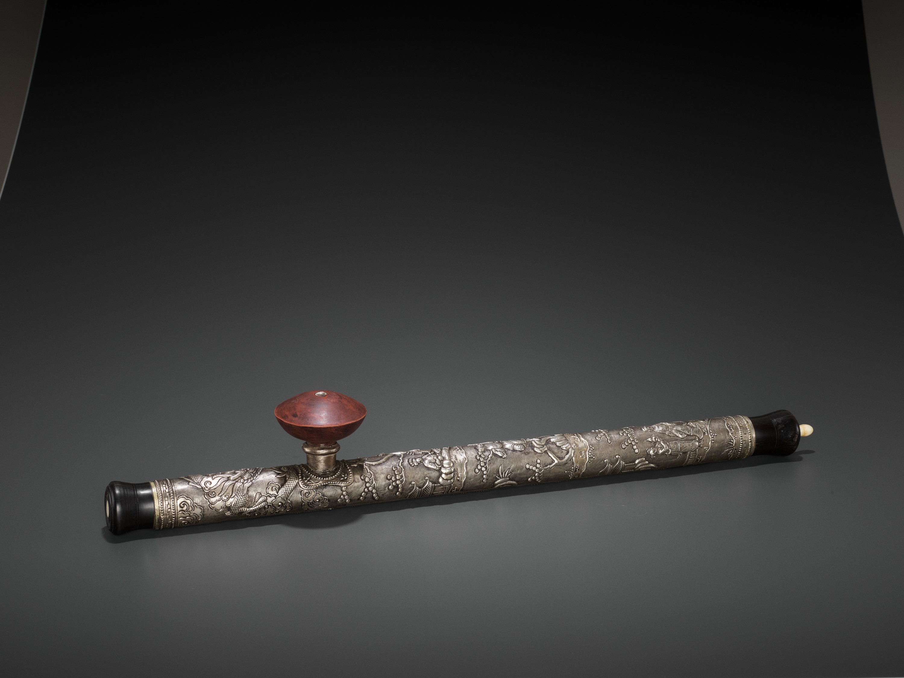 A HARDWOOD OPIUM PIPE WITH BONE, SILVER AND YIXING CERAMIC FITTINGS, LATE QING TO REPUBLIC