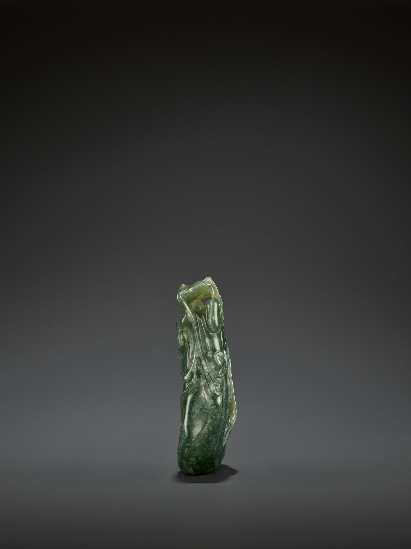A DARK GREEN JADEITE 'MELON' SOLIFLORE VASE, QING - Image 5 of 9