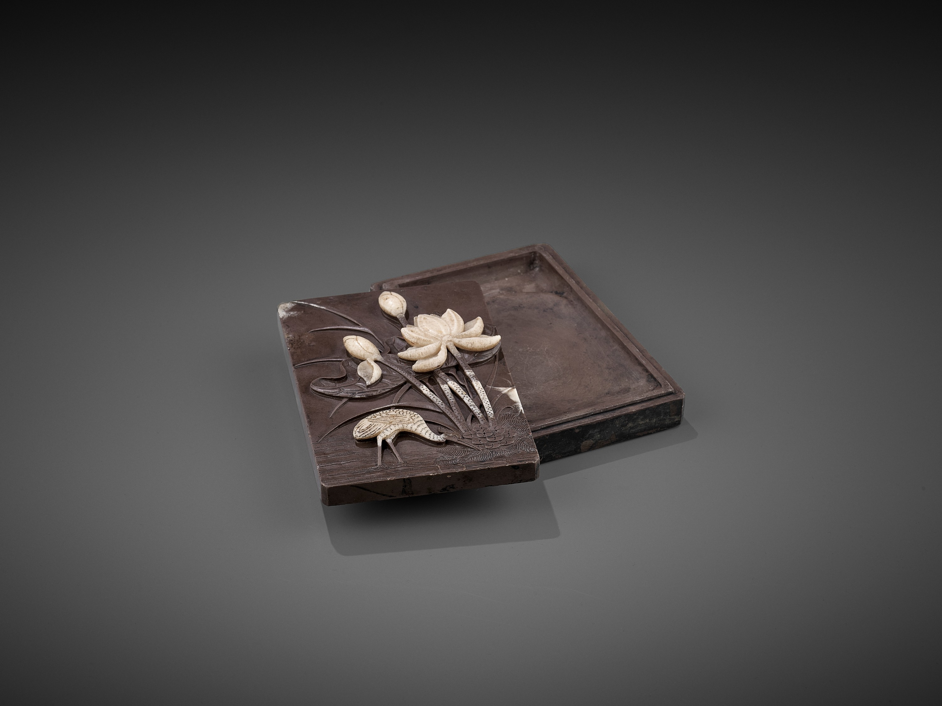 A DUAN 'CRANE AND LOTUS' INKSTONE AND COVER, QING - Image 5 of 12