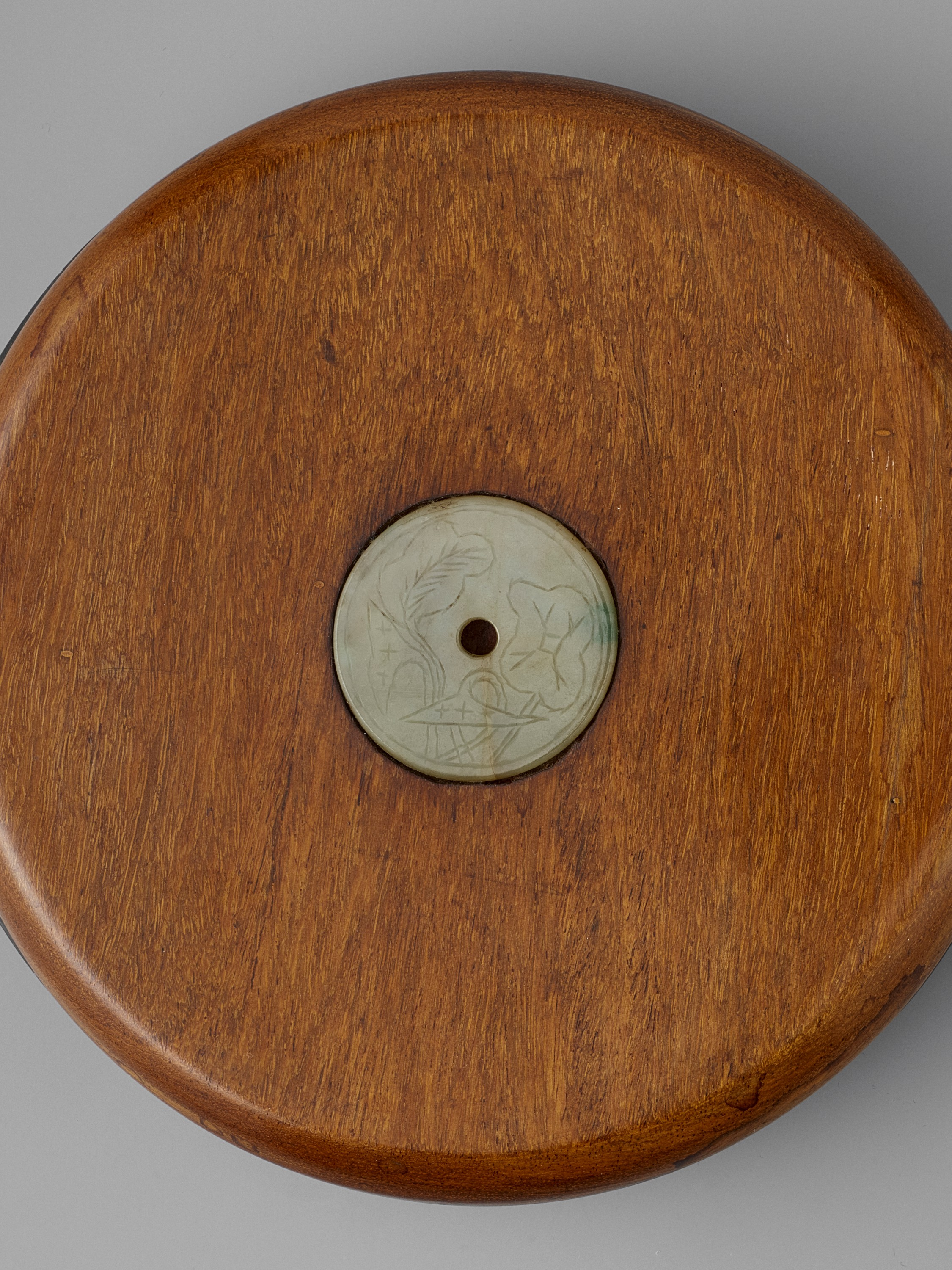 A DUAN INKSTONE WITH A JADEITE-INSET HUANGHUALI COVER, QING - Image 7 of 7