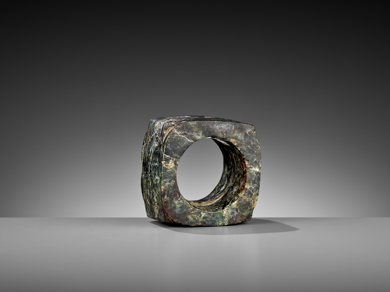 A MOTTLED GREEN JADE CONG, LIANGZHU CULTURE - Image 7 of 10