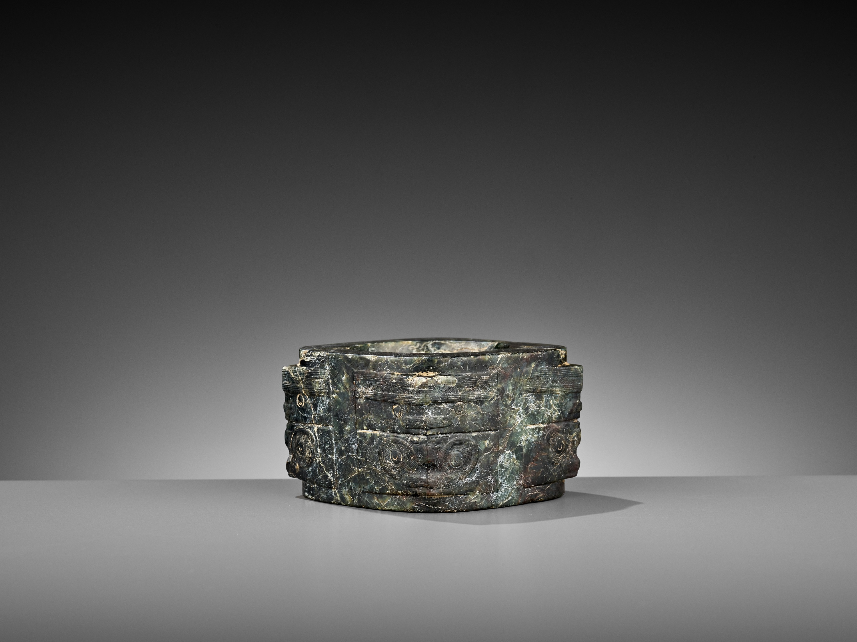 A MOTTLED GREEN JADE CONG, LIANGZHU CULTURE - Image 6 of 10