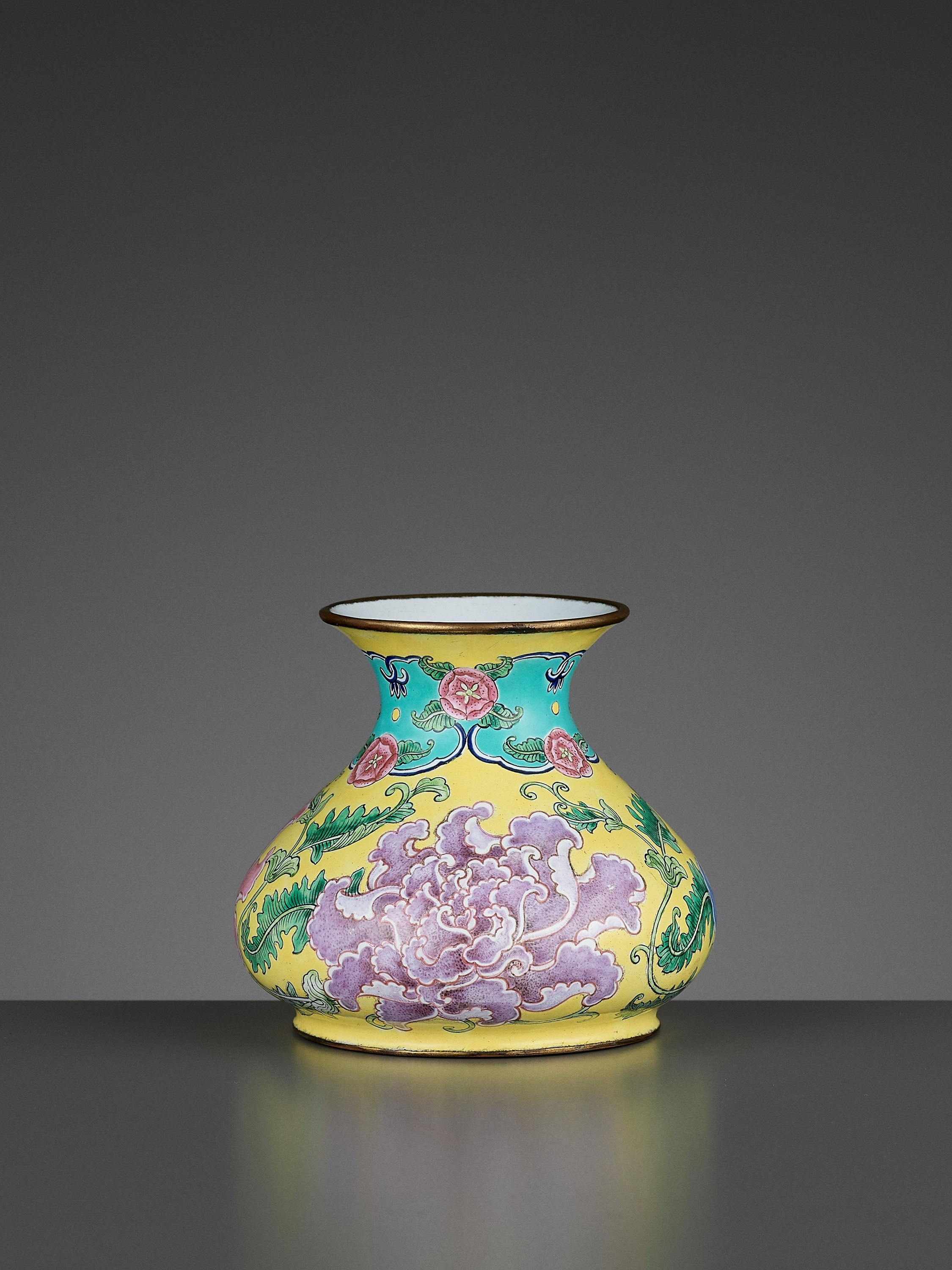 A BEIJING ENAMEL ON COPPER 'PEONIES' WATER POT, QIANLONG MARK AND PERIOD