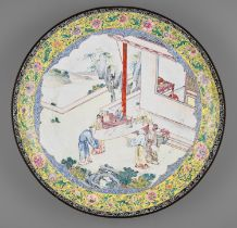 AN EXCEPTIONAL AND VERY LARGE CANTON ENAMEL 'SCHOLARS' DISH, EARLY 18TH CENTURY