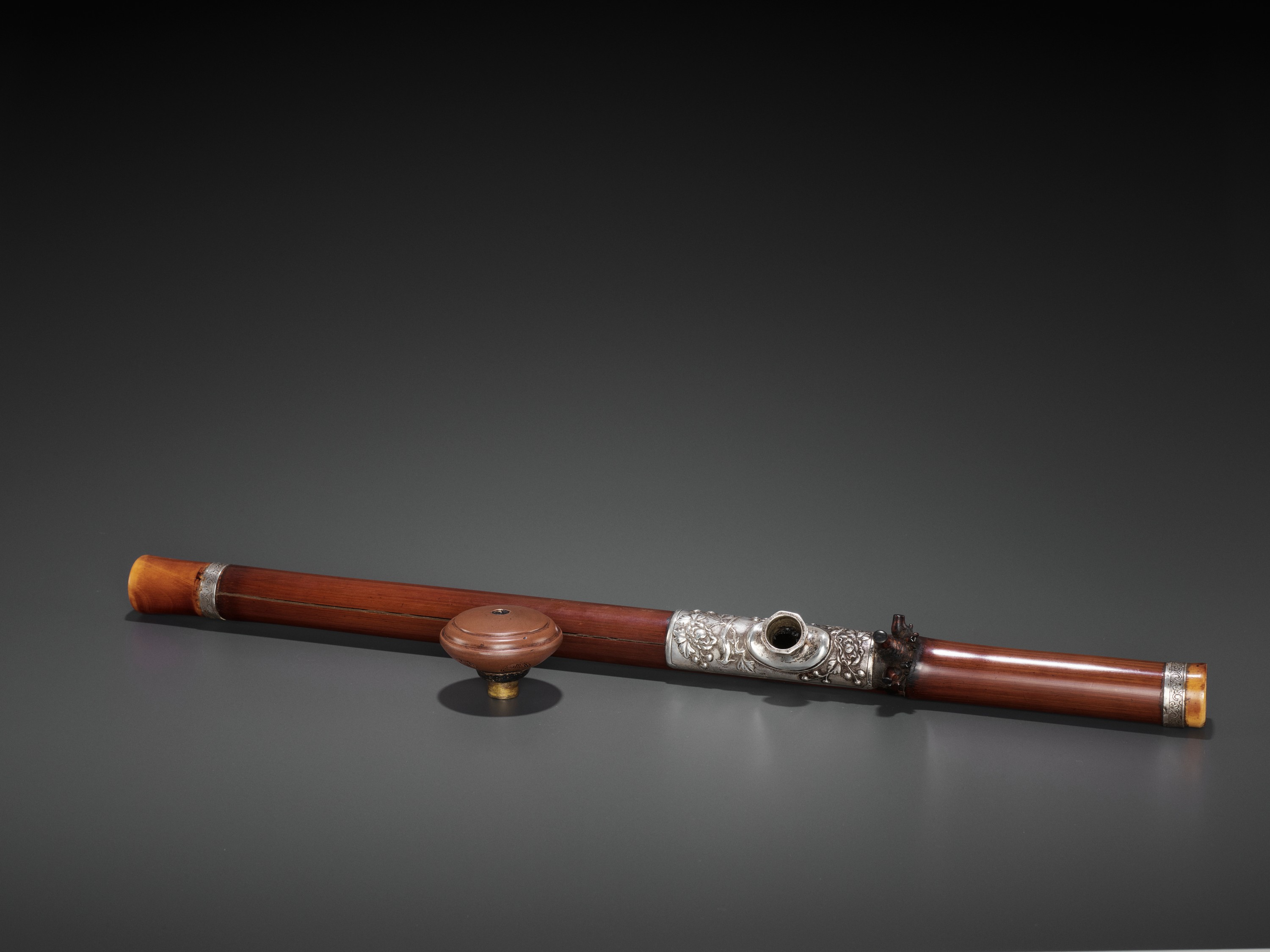 A BAMBOO OPIUM PIPE WITH IVORY, SILVER AND YIXING CERAMIC FITTINGS, LATE QING TO REPUBLIC - Image 3 of 9