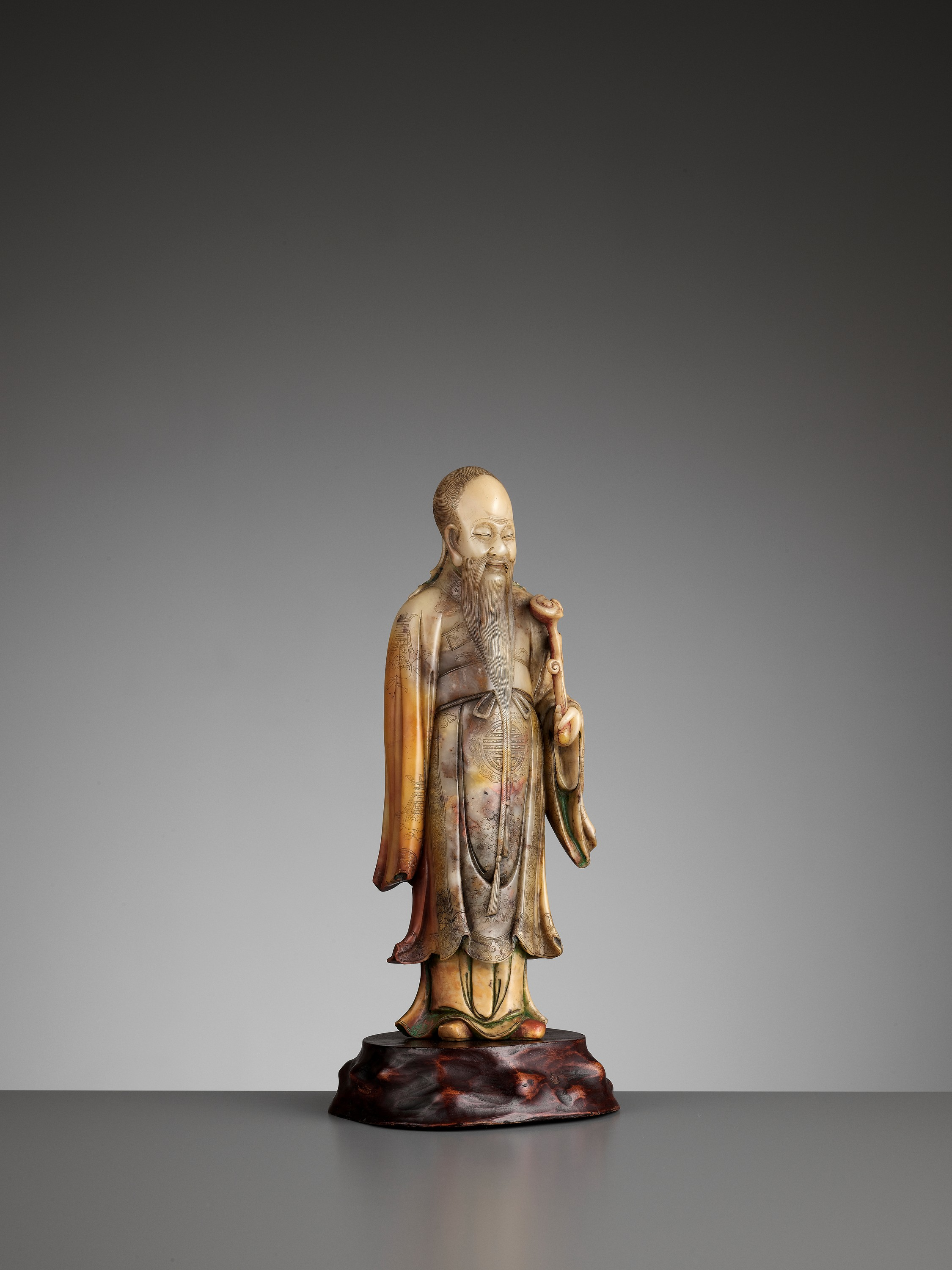 A CARVED SOAPSTONE FIGURE OF SHOULAO, MID-QING - Image 10 of 13