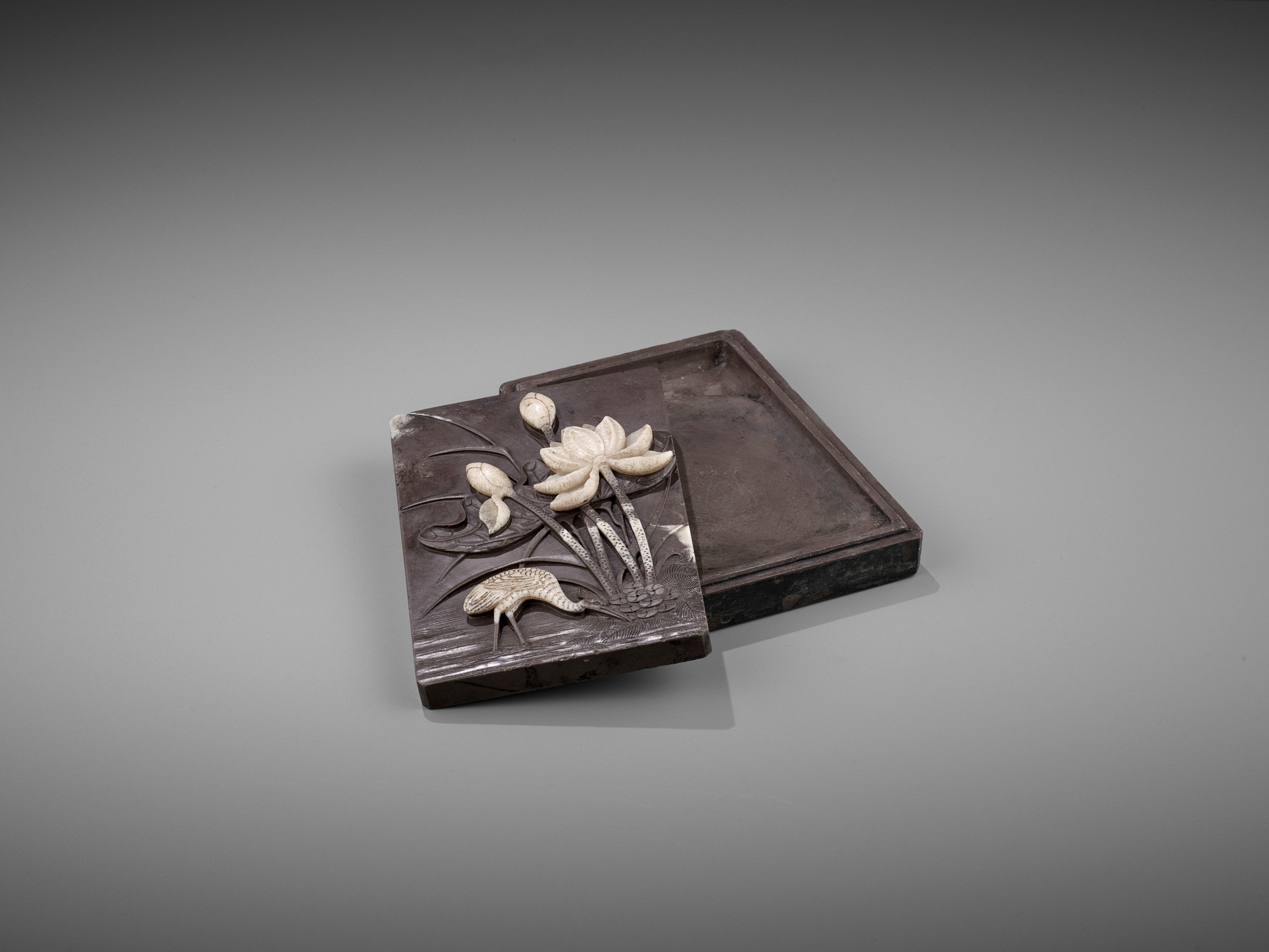 A DUAN 'CRANE AND LOTUS' INKSTONE AND COVER, QING - Image 9 of 12
