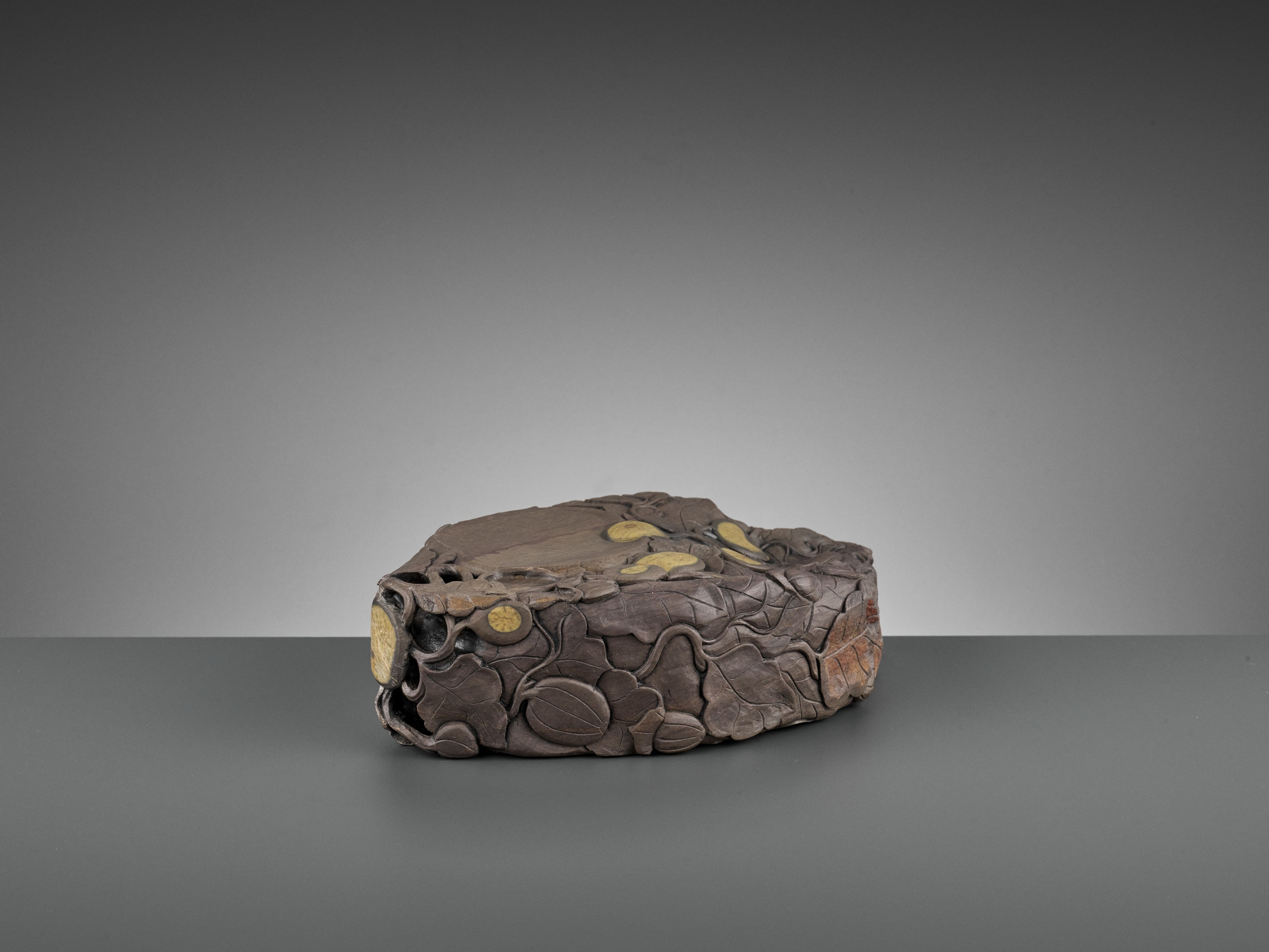 A MASSIVE CARVED 'MELON' DUAN INKSTONE, EARLY QING - Image 7 of 13