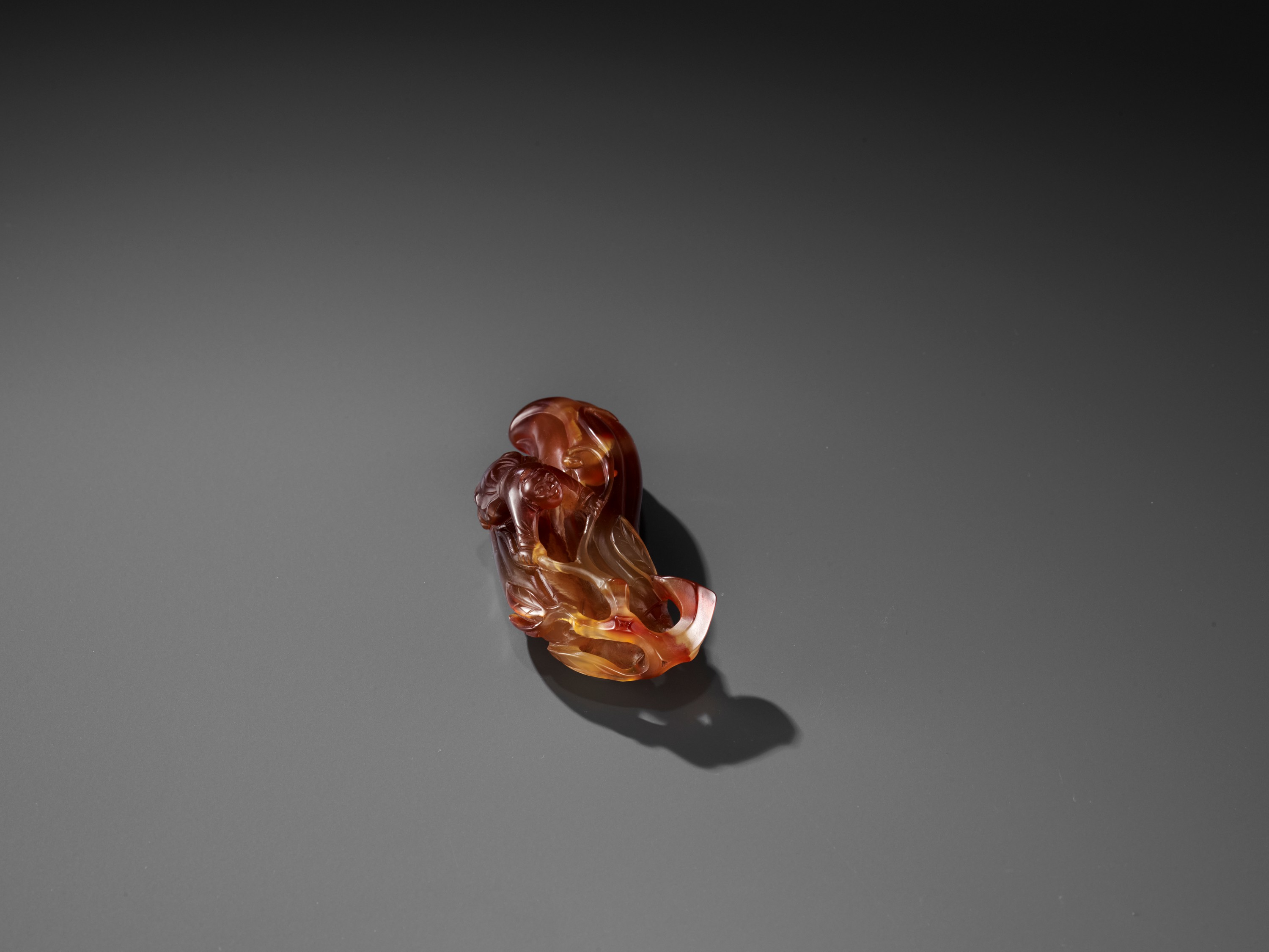 A FINE AGATE 'MELON AND BOY' GROUP, QING - Image 3 of 9